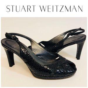 Stuart Weitzman Snakeskin Slingback Heels Sz 6